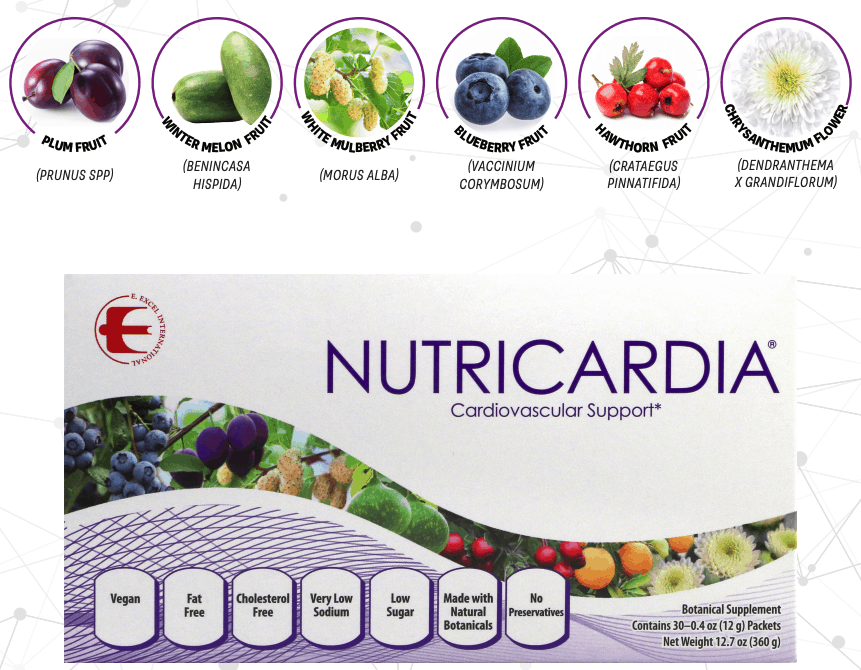 E Excel Nutritional Immunology NUTRICARDIA cardiovascular health support on Nourish Natural Wellness