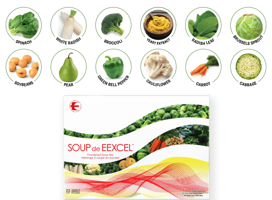 E Excel Nutritional Immunology SOUP DE EEXCEL whole food plant based savoury soup mix on Nourish Natural Wellness