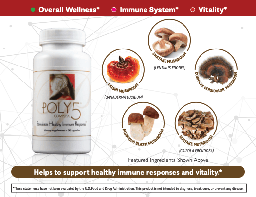 E Excel POLY5 immune response and immune modulation support on Nourish Natural Wellness