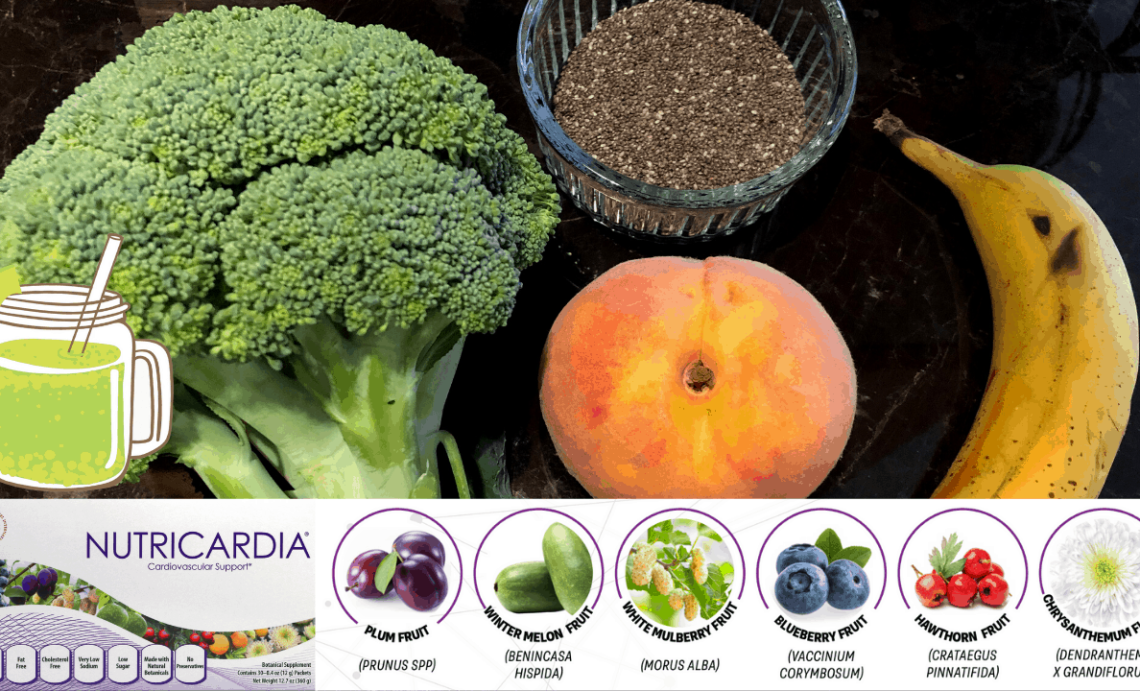 Broccoli, Peach, Banana, Chia, Nutricardia [High Antioxidant] Green Smoothie Recipe That Tastes Good