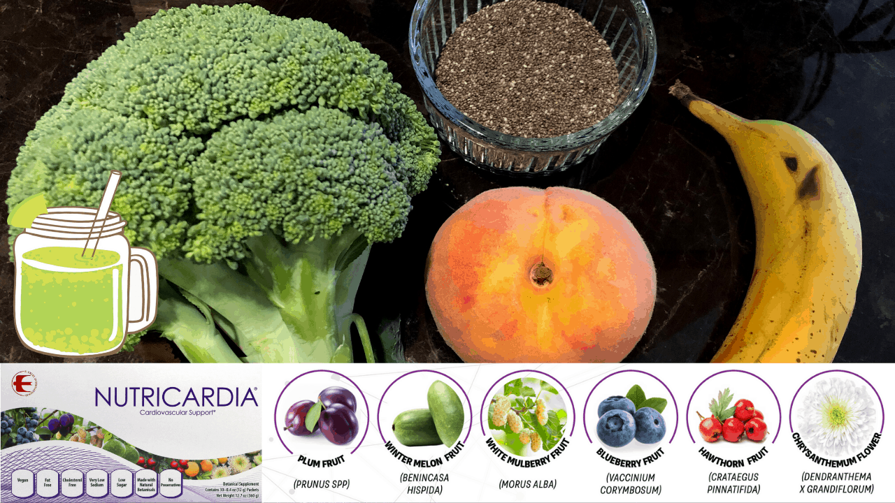 Broccoli, Peach, Banana, Chia, Nutricardia [High Antioxidant] Green Smoothie Recipe That Tastes Good on Nourish TV Healthy Living