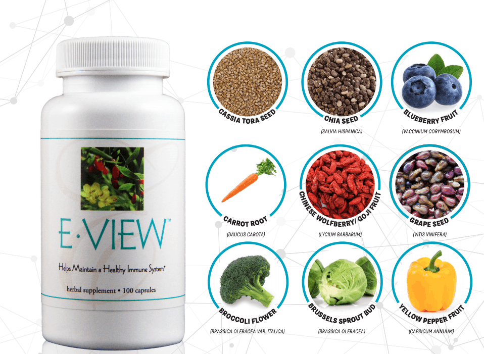 E Excel Nutritional Immunology E-VIEW healthy vision support on Nourish Natural Wellness