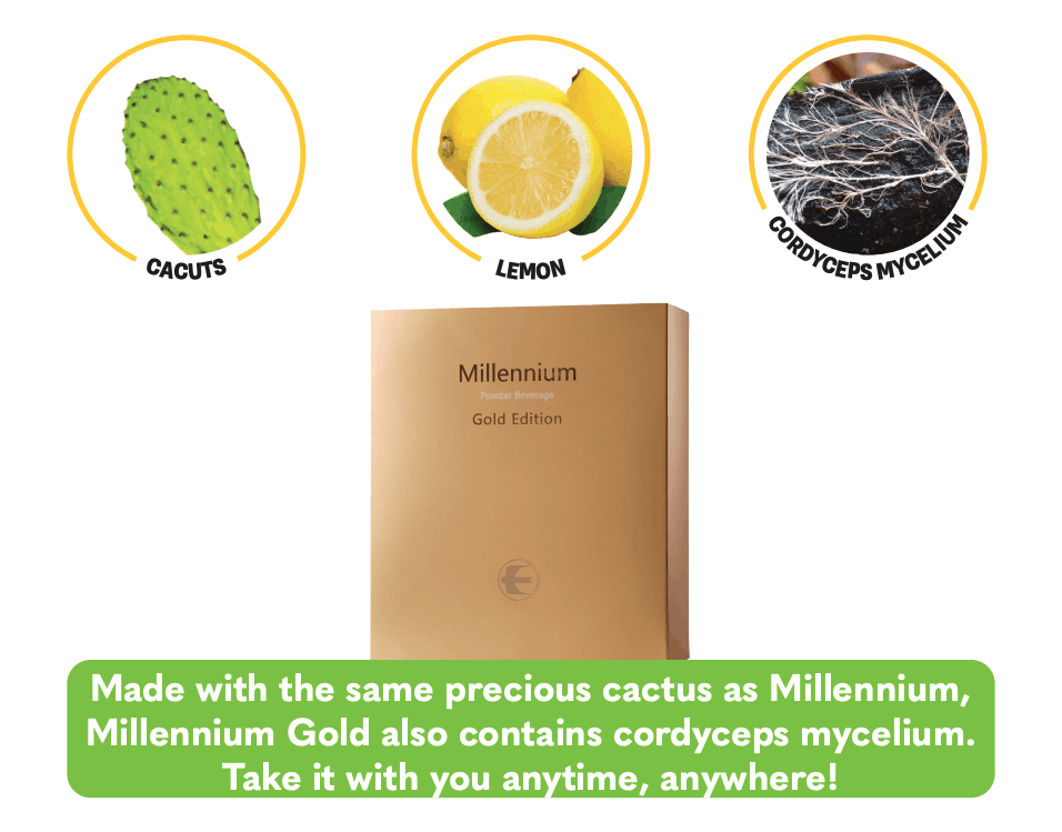 E. Excel Nutritional Immunology Millennium Powder Gold premium cactus nectar with cordyceps immune support on Nourish Natural Wellness